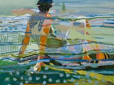 """Art by Linda Christensen -- Figure in Blue; 2015; oil on canvas; 36"""" x 48"""" [LCH 2]"""