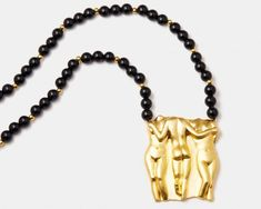 Les_Mères_de_la_Nation_Necklace-18k-yellow-gold-plated-beads-onyx1024x819 Female Bodies, Or, Plating, Bangles, Beads, Yellow, Silver, Jewelry, Bracelets