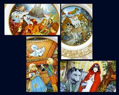 This is a complete set of 12 Grimms Fairy Tales Series of Franklin Porcelain Plates. Artist: Carol Lawson. Circa 1978. Porcelain Plate Collections, Limited Edition, Crafted in Bavaria 24K Gold decorated borders & complete provenance on back of each plate. Produced by Franklin Porcelain from 1978 - 1979. No longer in production.  Each plate depicts a different Grimms Fairy Tale. All are in like new, pristine condition unless otherwise noted. Under very bright light the inside hand painted ...