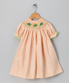 Take a look at this Light Orange Turtle Bishop Dress - Girls by Molly Pop Inc. on #zulily today!