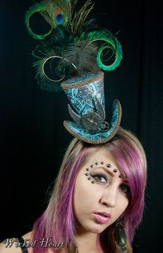 Items similar to Steampunk Mini Top Hat - Blue & Brown Brocade, Wings, Gears, Clock Face on Etsy