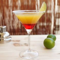La Bomba is a fruity and colorful cocktail, which is made with gold tequila. It is best administered in a cocktail glass. Cocktail Glass, Cocktail Drinks, Fun Drinks, Cocktail Recipes, Alcoholic Drinks, Beverages, Tequila Drinks, Colorful Cocktails, Refreshing Cocktails