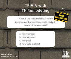 It's time for some trivia with TH Remodeling. Comment below with your guess! Check back with us later for the correct answer.  #THremodeling #triviawednesday #trivia #homeimprovement