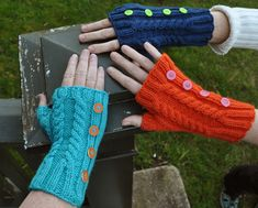 These cabled fingerless mitts add a nice bright pop of color to your wardrobe. Knit from wrist to fingers, they work up quickly and easily for a fast weekend project.