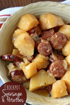 Crockpot Sausage & Potatoes - Diary of A Recipe Collector Crockpot Sausage & Potatoes is such an easy dinner idea with only five ingredients! Plus it will leave your house smelling amazing as it cooks all day! Crockpot Sausage And Potatoes, Crockpot Dishes, Crock Pot Slow Cooker, Crock Pot Cooking, Slow Cooker Recipes, Cooking Recipes, Crockpot Meals, Easiest Crockpot Recipes, Simple Crock Pot Recipes