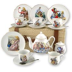 Alice in Wonderland Tea Set By Reutter Porcelain Dishwash...