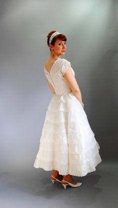 Sale  1950s White Cream Lace Ruffled Wedding Dress by gogovintage, $170.00
