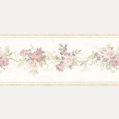 Vintage Rose englische Landhaus Satin Bordüren Blumen Art.-Nr.: B07563