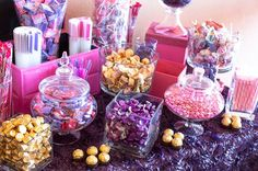 15 awesome candy buffet ideas you need to steal today - I like the layout, the apothecary jars and the selection of candy, hate pink and purple.