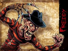 """Come to Freddy!""  Striped sweaters and fedoras are in this Halloween season folks, if Freddy Krueger here is any indication.  One of the most fearsome contestants, Freddy's part of an illustration featuring all sorts of heavy metal icons and horror film baddies that I'm working on promoting a history documentary by M.A.S. Productions."