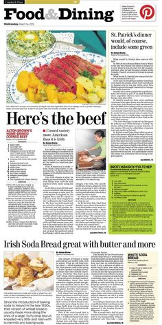 Food pages features on St. Patrick's Day foods for the Evansville Courier & Press on 3/14/2012