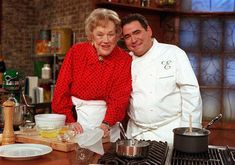 Nov. 17, 2000, Julia Child and Emeril Lagasse on the set of Lagasse's show in New York.