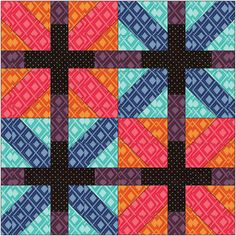 """With the Japanese """"X"""" blocks, the black cross reads more strongly than the colored portions of the design. When a bunch of these blocks are put together, the distribution of value and color helps to define the design in a way that pushes some of the areas forward (the lattice created by the crosses) and some areas backward (the colored """"Xs"""")."""