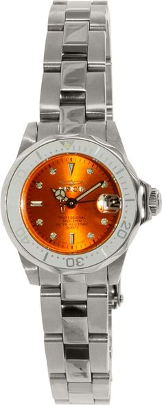 Invicta Women's Pro Diver/Mini Diver Orange Dial Stainless Steel -- Check out this great watch.