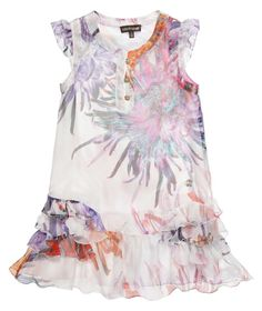 #Roberto Cavalli ;beautiful exotic flower print dress in luxuriously soft silk with a dropped waist and ruffled skirt. The dress is fully lined with a soft cotton satin lining which makes it hang beautifully and feel soft against the skin.£ 304,00 found on My Child World