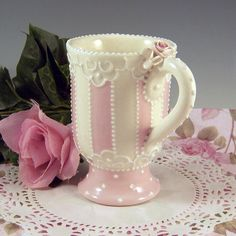 Striped Pedestal Mug by RomancingTheTeapot on Etsy Tea Room Decor, Ceramic Cafe, Teapots And Cups, Teacups, Tea Art, China Tea Cups, Rose Tea, Cute Mugs, China Patterns