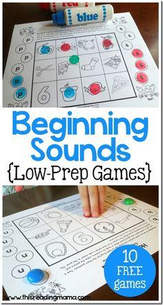 FREE Beginning Sounds Game - no prep activity to help kids in Preschool, Kindergarten, and 1st grade identify beginning sounds. (language arts)