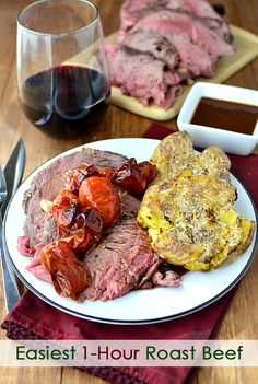 Easiest 1 Hour Roast Beef. Use for French Dip Sandwiches or a yummy supper any night of the week. | iowagirleats.com