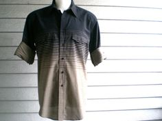 vintage 1980s men's western button up shirt with gradient stripe in tan & black. retro menswear. | ReRunRoom | $28.00