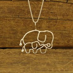 Elephant Necklace Mother and Baby Sterling Silver by Dragonfly65, $55.00