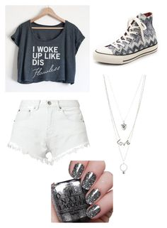 """Summer day"" by lilygriffiths44 ❤ liked on Polyvore featuring Bitching & Junkfood, Converse and Charlotte Russe"