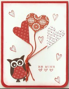 Stampin Up Owl balloon hearts Valentine's Day card kit