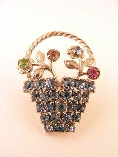 Rhinestone Flower Basket Brooch Light Blue.