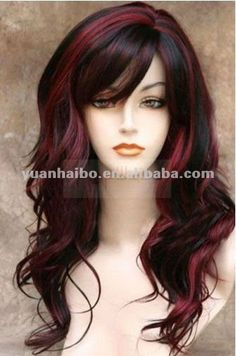 """18"""" #1B Highlight #99J Wavy Remy Hair Side Parting, brazilian full lace wig"""