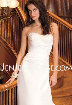 ! $139.99 - A-Line/Princess Sweetheart Chapel Train Satin Wedding Dresses With Ruffle  Beadwork (002001168) http://jenjenhouse.com/A-line-Princess-Sweetheart-Chapel-Train-Satin-Wedding-Dresses-With-Ruffle--Beadwork-002001168-g1168