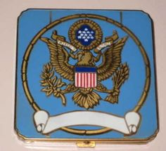 1940s unused enamelled military patriotic compact with US army eagle insignia!