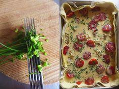 petiscosemiminhos: Tarte de bacalhau, tomate-cereja e cebolinho/ Codfish, cherry-tomatoes and chives pie