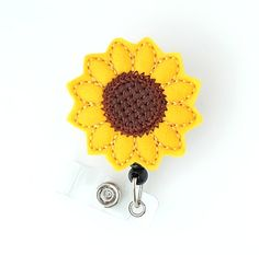 Sunflower - Felt Name Badge Holders - Cute Badge Reels - Unique Retractable ID Badge Clips - Felt Badge Pulls - Nurse Badge - BadgeBlooms Id Badge Clip, Nurse Badge, Id Badge Reels, Bridal Shower Registry, Felt Name, Name Badges, Felt Applique, Badge Holders, Crochet Earrings