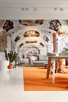 MOOOI Showroom and Brandstore | Modern furniture in a more elaborate & traditional setting with frescoed ceiling