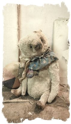 """Image of Schoenhut Circus -  the Old & Worn Clown Bear * 7"""" Antique Style Teddy Bear * By Whendi's Bears"""
