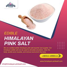 The Himalayan salt edible can be used to stimulate circulation, relax the body, soothe sore muscles, and remove toxins from the body, besides giving a healthy and naturally controlled supply of necessary minerals and nutrients to the human body. For order Contact us: (+92) 311-1559111 Email: info@himalayan-pinksalt.com #himalayan_salt_wall #himalayan_salt_usblamp_exporter #himalayan_salt_manufacturer #himalayan_salt_exporter #himalayan_pinksalt_exporter #himalayanpinksalt #HimalayanEdibleSalt Remove Toxins From Body, Himalayan Salt Bath, No Sodium Foods, Grain Size, Salt And Light, Table Salt, Sore Muscles, Bath Salts, Minerals