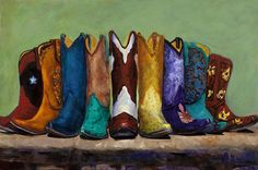 Featured Art - Why Real Men Want to be Cowboys by Frances Marino Acylic Painting Ideas, Art Paintings For Sale, Acrylic Paintings, Thing 1, Western Art, Western Theme, Western Cowboy, Western Style, Western Boots