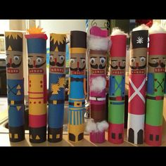 Nutcrackers made from paper towel rolls...may try this year for Christmas project and read the Nutcracker!