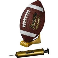 Franklin Sports Grip-Rite Pump and Tee Football Set, Official, Brown