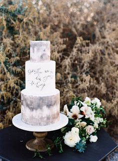 Subtly Daring Marble Wedding Cakes | See more on www.onefabday.com