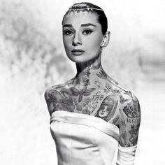 Cheyenne Randall art, Cheyenne Randall tattooed celebrities, tattooed movie stars, tattooed Marilyn Monroe, Grace Kelly tattoos, Audrey Hepburn tattoos, tattoo art, Berlin tattoos, Berlin hipsters