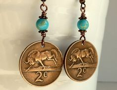 South African coin earrings African earrings Coin by CoinStories