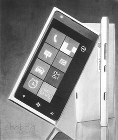 Pencil Drawing of Nokia Lumia 900 Windows Phone, Graphite, Pencil Drawings, Gadgets, Geek Stuff, Live, Awesome, Art, Tecnologia