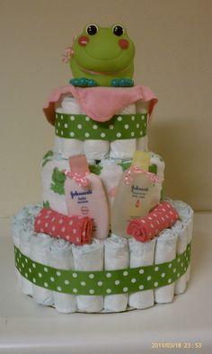 Girl frog diaper cake!  Like me on facebook!