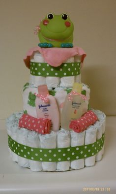 Girl frog diaper cake!  Like me on facebook!
