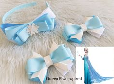 Your place to buy and sell all things handmade Ribbon Hair Bows, Bow Hair Clips, Emma Wiggle, Elsa Hair, Christmas Hair Bows, Dance Hairstyles, Queen Elsa, Making Hair Bows, Hair Accessories For Women