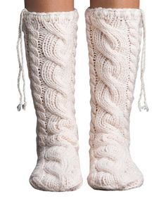 Look what I found on #zulily! Vanilla Cream Artic Cushion Cable-Knit Mukluk Slipper Socks #zulilyfinds
