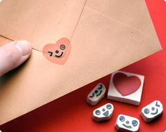 Adorable heart + faces stamps
