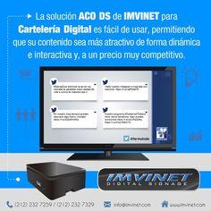 La Solución ACO DS de IMVINET para Cartelería Digital es fácil de usar permitiendo que su contenido sea más atractivo de forma dinámica e interactiva #RedesSociales #DigitalSignage Quieres saber más? Entra en info@imvinet.com
