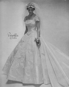 Put a dip in the neckline to match the basque waist, and there you go--your wedding gown. Priscilla of Boston was a high-end brand, as I've mentioned before, and their designs often seem timeless.] Priscilla of Boston 1955 Vintage Wedding Photos, Vintage Bridal, Vintage Weddings, Bridal Looks, Bridal Style, Vintage Gowns, Vintage Outfits, Wedding Dress Trends, Wedding Dresses