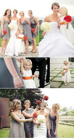 Orange gerbera daisy bouquets, grey dresses, flower girl dresses